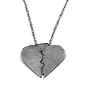 Healing Heart Pendant Necklace, Silver Heart Necklace