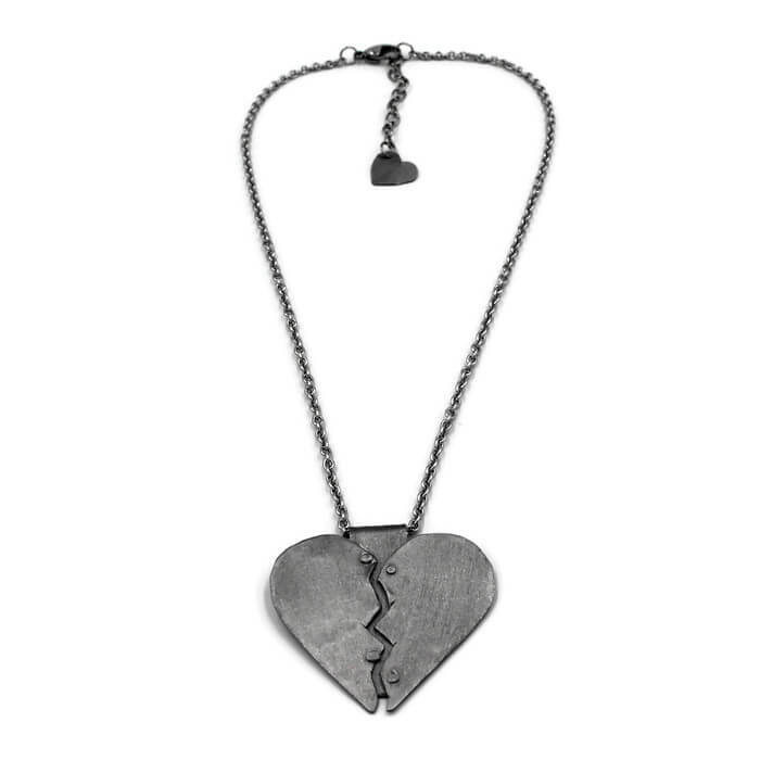 Silver Healing Heart Pendant Necklace - Creative Jewelry by Marcia - Asymmetrical Jewelry - Timeless Jewelry