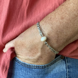 Single Freshwater Pearl Silver Chain Bracelet with Lobster Clasp-Bracelets- Creative Jewelry by Marcia