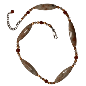 Sunstone, Swarovski Crystals and Carnelian Stone Necklace with Lobster Clasp