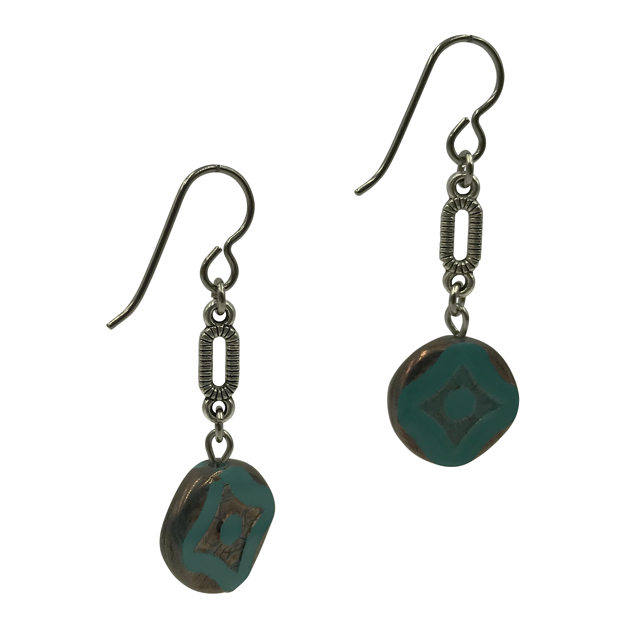 Teal Dangle Earrings for Sensitive Ears-Earrings- Creative Jewelry by Marcia