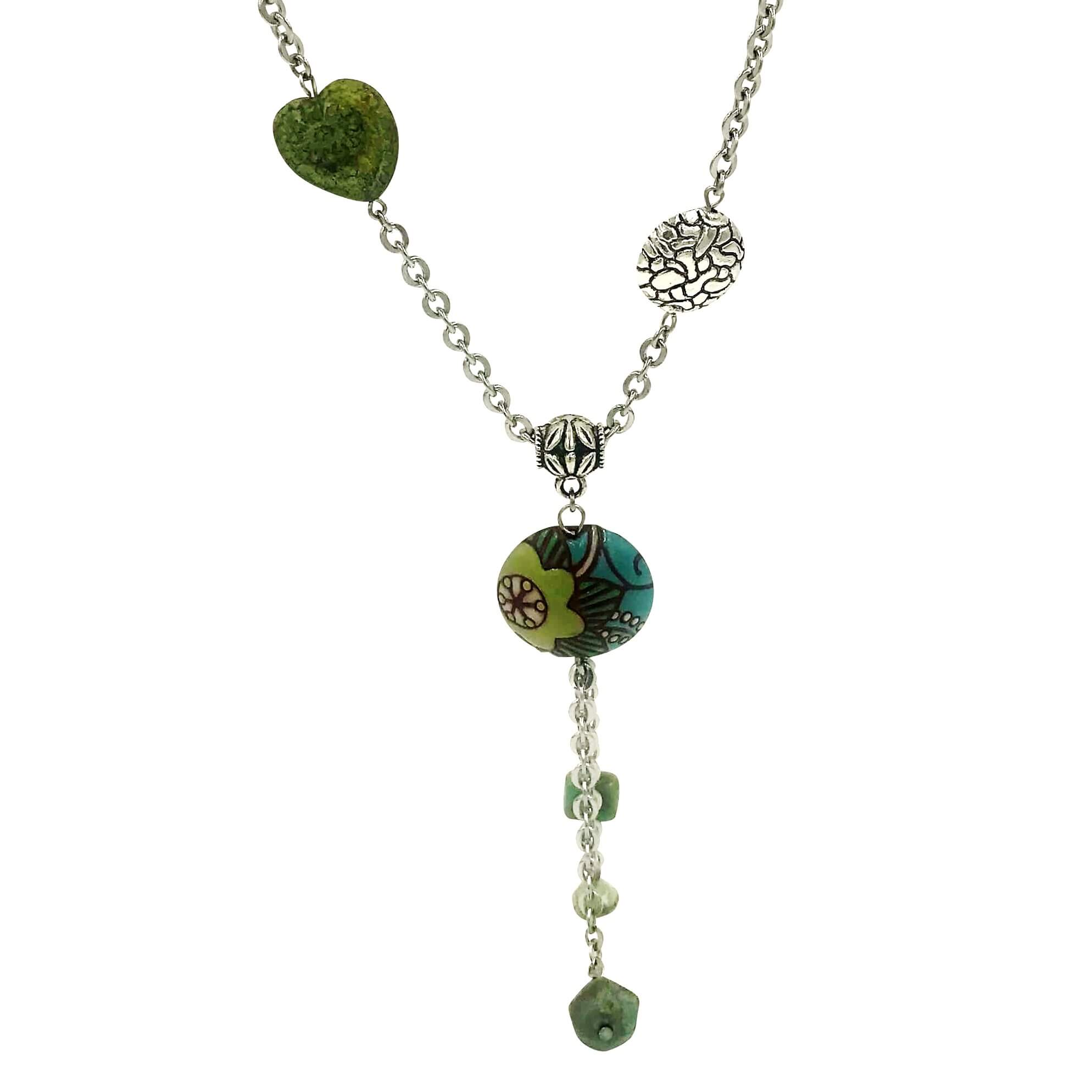 Golem Round Pendant Necklace with Teal and Green and Silver Beads-Necklaces- Creative Jewelry by Marcia