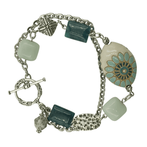 Silver Gemstone Bracelet with Teal Amazonite and Apatite Stones-Bracelets- Creative Jewelry by Marcia