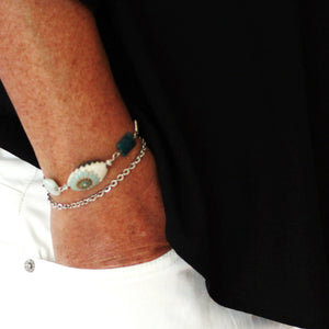 Silver Gemstone Bracelet with Teal Amazonite and Apatite Stones