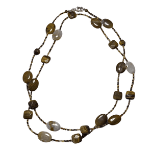 Tiger Eye Stone Long Necklace with Lobster Clasp