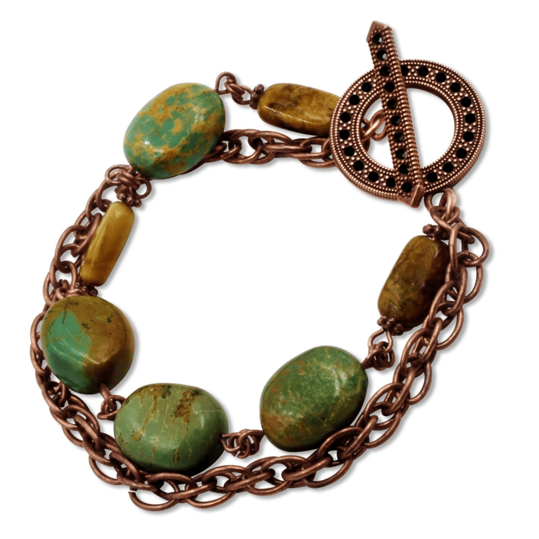 Miran Turquoise Jade Copper Chain Link Bracelet With Toggle Clasp-Bracelets- Creative Jewelry by Marcia