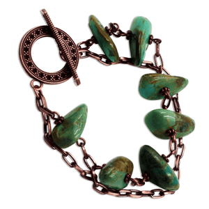 Alli Turquoise Copper Chain Link Bracelet with Toggle Clasp-Bracelets- Creative Jewelry by Marcia
