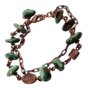 Emily Copper Turquoise Chain Link Bracelet-Bracelets- Creative Jewelry by Marcia