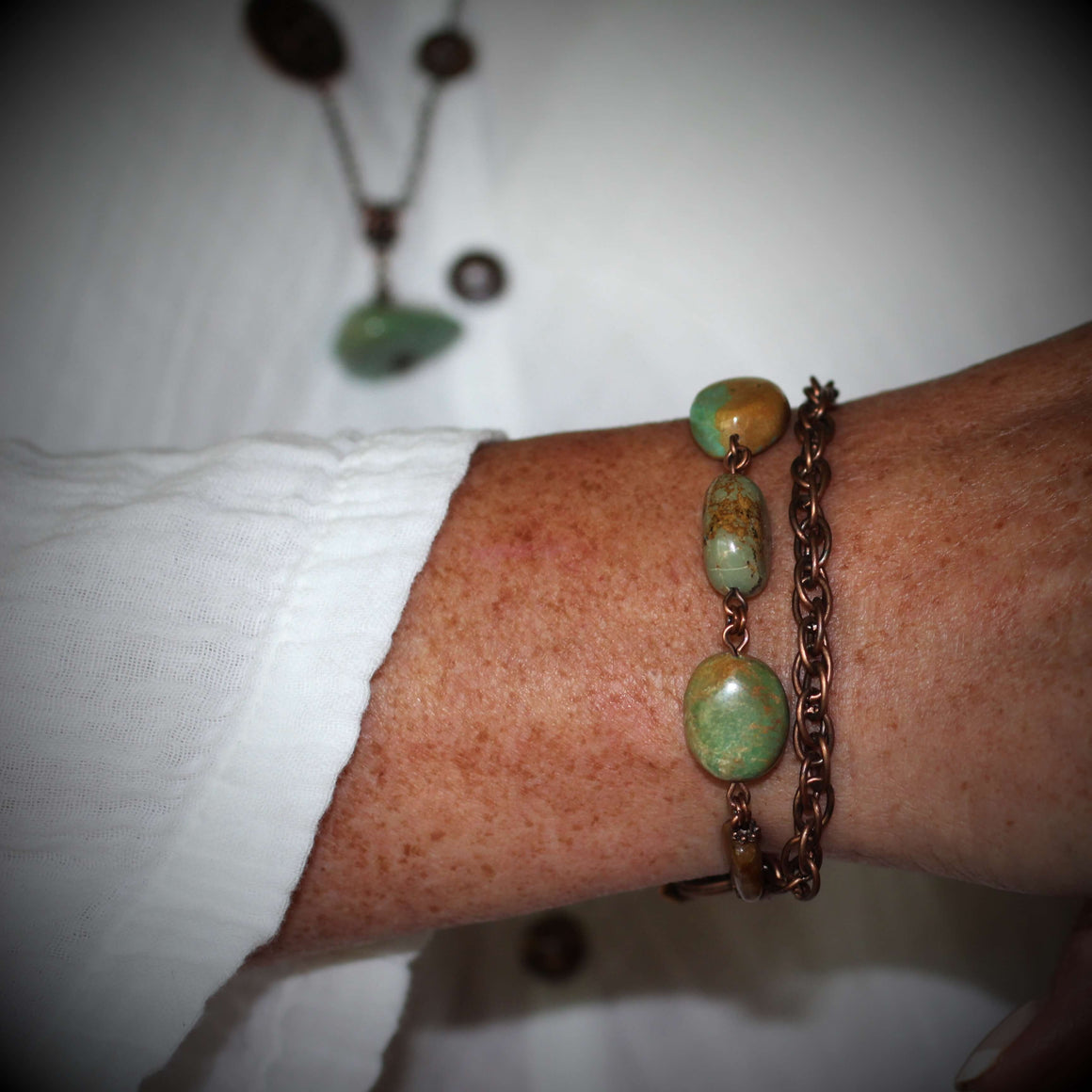 Miran Turquoise Jade Copper Chain Link Bracelet With Toggle Clasp - Creative Jewelry by Marcia - Asymmetrical Jewelry - Timeless Jewelry