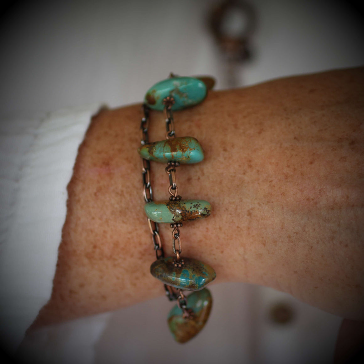 Alli Turquoise Copper Chain Link Bracelet with Toggle Clasp - Creative Jewelry by Marcia - Asymmetrical Jewelry - Timeless Jewelry