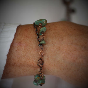 Emily Copper Turquoise Chain Link Bracelet - Creative Jewelry by Marcia - Asymmetrical Jewelry - Timeless Jewelry