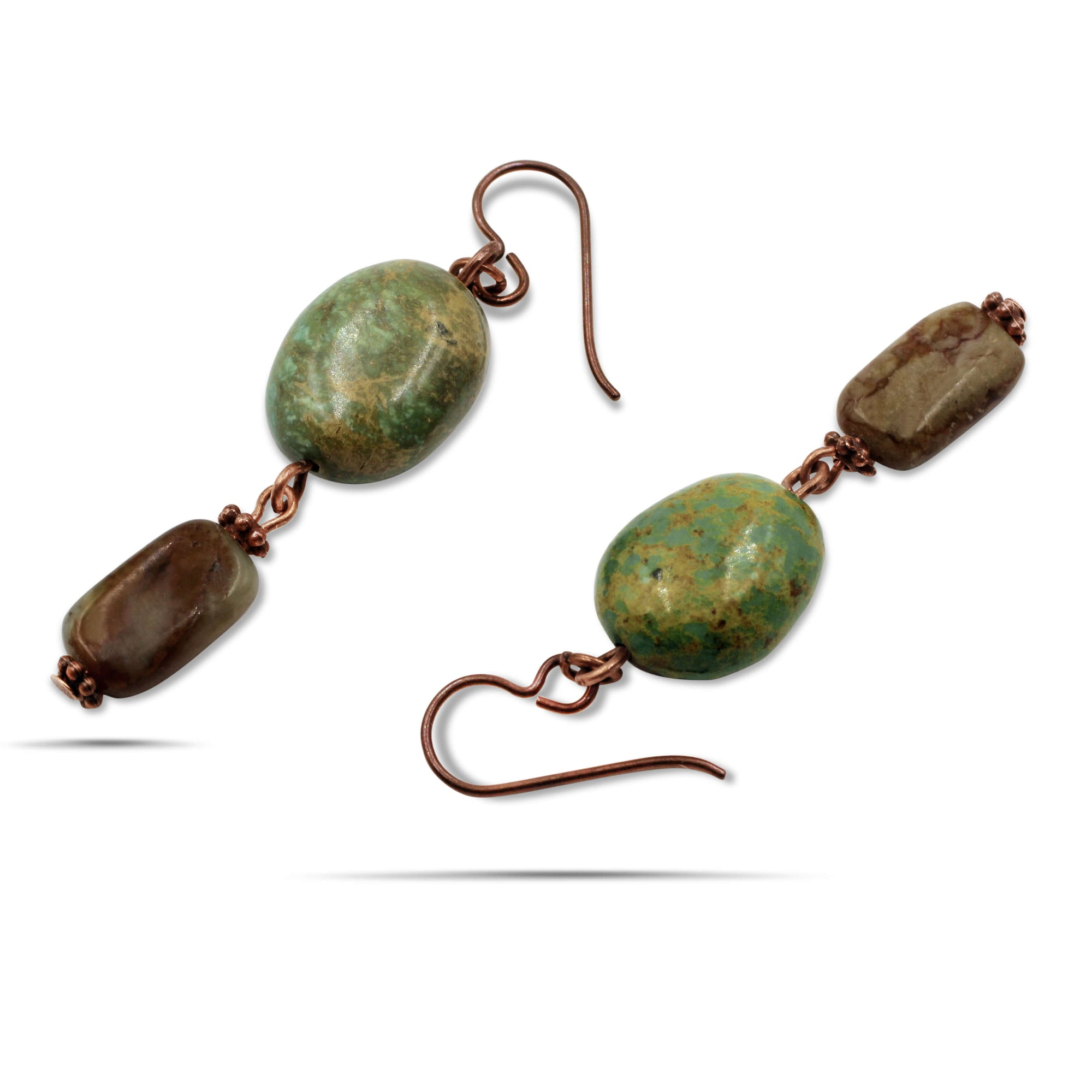 Brett Turquoise Jade Long Dangle Earrings - Creative Jewelry by Marcia - Asymmetrical Jewelry - Timeless Jewelry