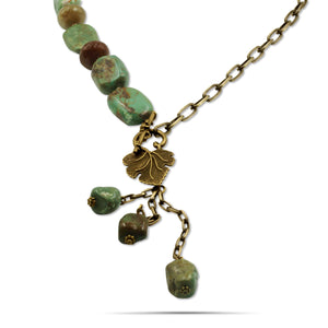 Maggie Hand-knotted Turquoise Jasper Agate Brass Necklace - Creative Jewelry by Marcia - Asymmetrical Jewelry - Timeless Jewelry