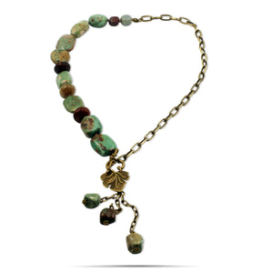 Makayla Hand-knotted Turquoise Jasper Agate Brass Chain Long Leaf Necklace - Creative Jewelry by Marcia - Asymmetrical Jewelry - Timeless Jewelry