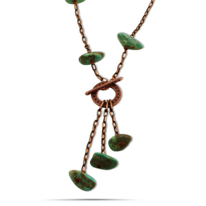 Lexi Turquoise Copper Chain Toggle Clasp Necklace - Creative Jewelry by Marcia - Asymmetrical Jewelry - Timeless Jewelry
