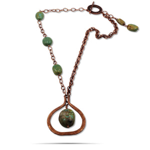 Erica Turquoise Jade Copper Chain Hammered Copper Pendant Statement Necklace - Creative Jewelry by Marcia - Asymmetrical Jewelry - Timeless Jewelry