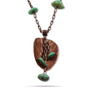 Wren Turquoise Leaf Pendant Statement Copper Necklace - Creative Jewelry by Marcia - Asymmetrical Jewelry - Timeless Jewelry