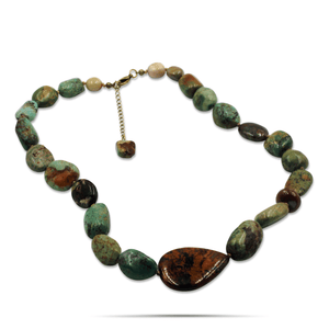Ruth Ann Hand-knotted Turquoise, Jasper Pendant Necklace-Necklaces- Creative Jewelry by Marcia