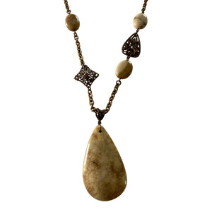 Vintaj Brass Chain and Fossil Coral Stone Pendant Necklace with Toggle Clasp-Necklaces- Creative Jewelry by Marcia