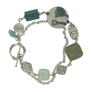 Amazonite, Apatite, and Agate Stone Bracelet with Stainless Steel Chain-Bracelets- Creative Jewelry by Marcia