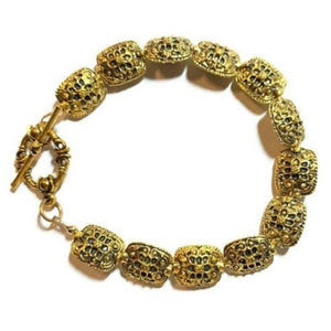 Pewter Brass Gold Bracelet with Oval Rectangle Beads- Creative Jewelry by Marcia