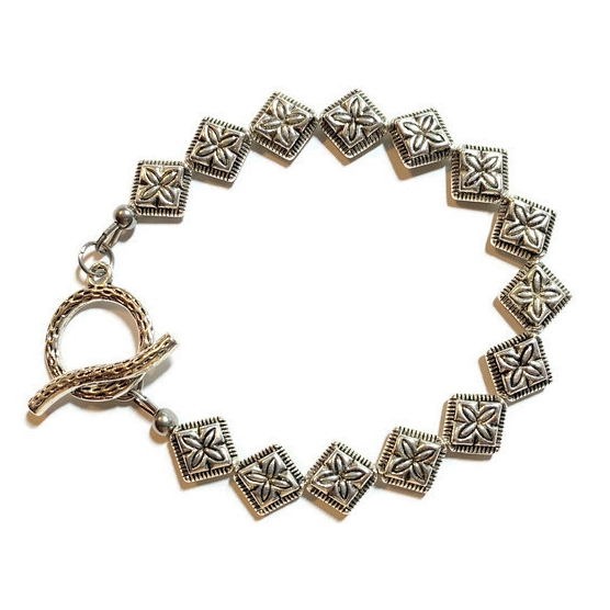 Pewter Silver Bracelet with Diamond Shape Silver Beads - Creative Jewelry by Marcia - Asymmetrical Jewelry - Timeless Jewelry