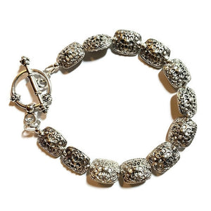 Pewter Silver Bracelet with Oval Rectangle Silver Beads