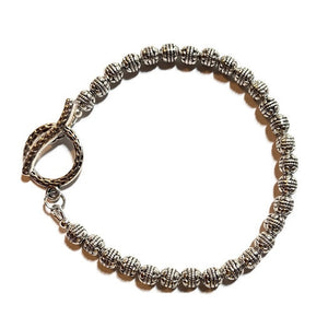 Pewter Silver Bracelet with Small Oval Silver Beads - Creative Jewelry by Marcia - Asymmetrical Jewelry - Timeless Jewelry