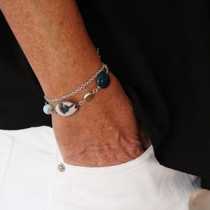 Teal Flower Golem Stone Bracelet with Teal Golem beads, Jasper and Apatite Stone