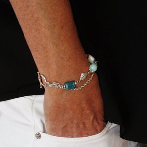 Amazonite, Apatite, Agate Stone Bracelet with Stainless Steel Chain, Pewter Beads and Toggle Clasp - Creative Jewelry by Marcia - Asymmetrical Jewelry - Timeless Jewelry