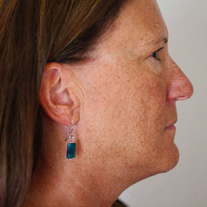 Teal Apatite Drop Earrings for Sensitive Ears - Creative Jewelry by Marcia - Asymmetrical Jewelry - Timeless Jewelry