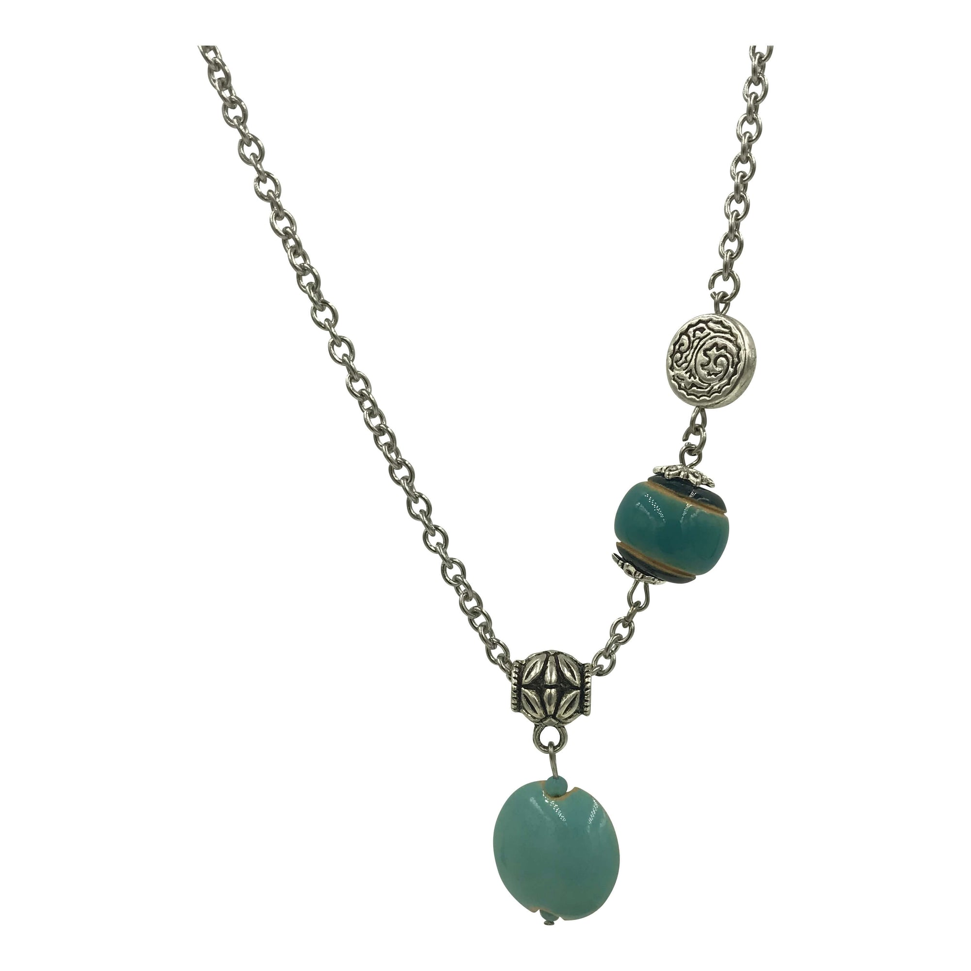 Pendant Necklace with Teal, Ocean Blue and Silver Beads - Creative Jewelry by Marcia - Asymmetrical Jewelry - Timeless Jewelry