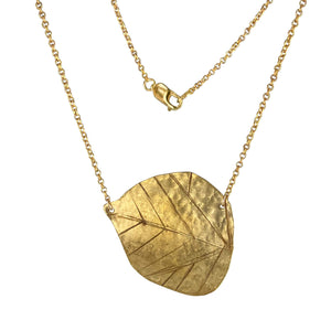 Hammered Brass Poplar Leaf Necklace with 14k Gold-filled Lobster Clasp-Necklaces- Creative Jewelry by Marcia