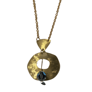 Brass and Swarovski Crystal Pendant Necklace with Lobster Clasp