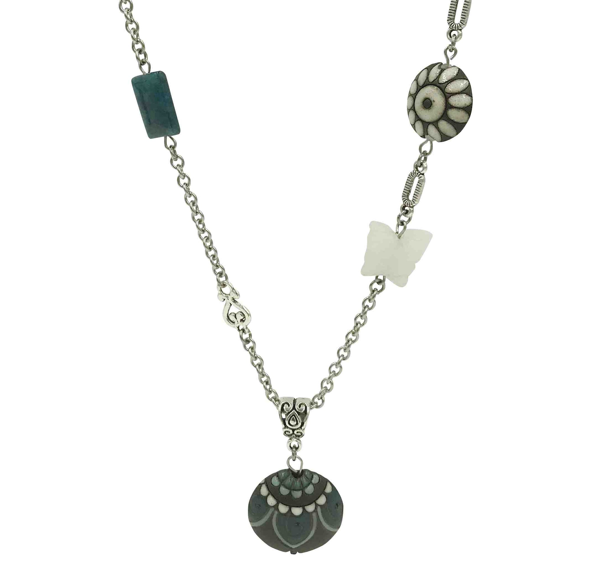 Round Pendant Necklace with Stainless Steel Chain-Necklaces- Creative Jewelry by Marcia