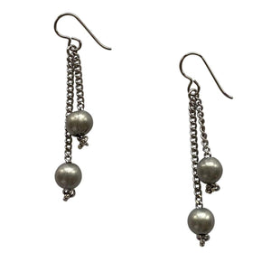 Silver Steel Round Bead and Chain Earrings with Niobium Ear Wires for Sensitive Ears