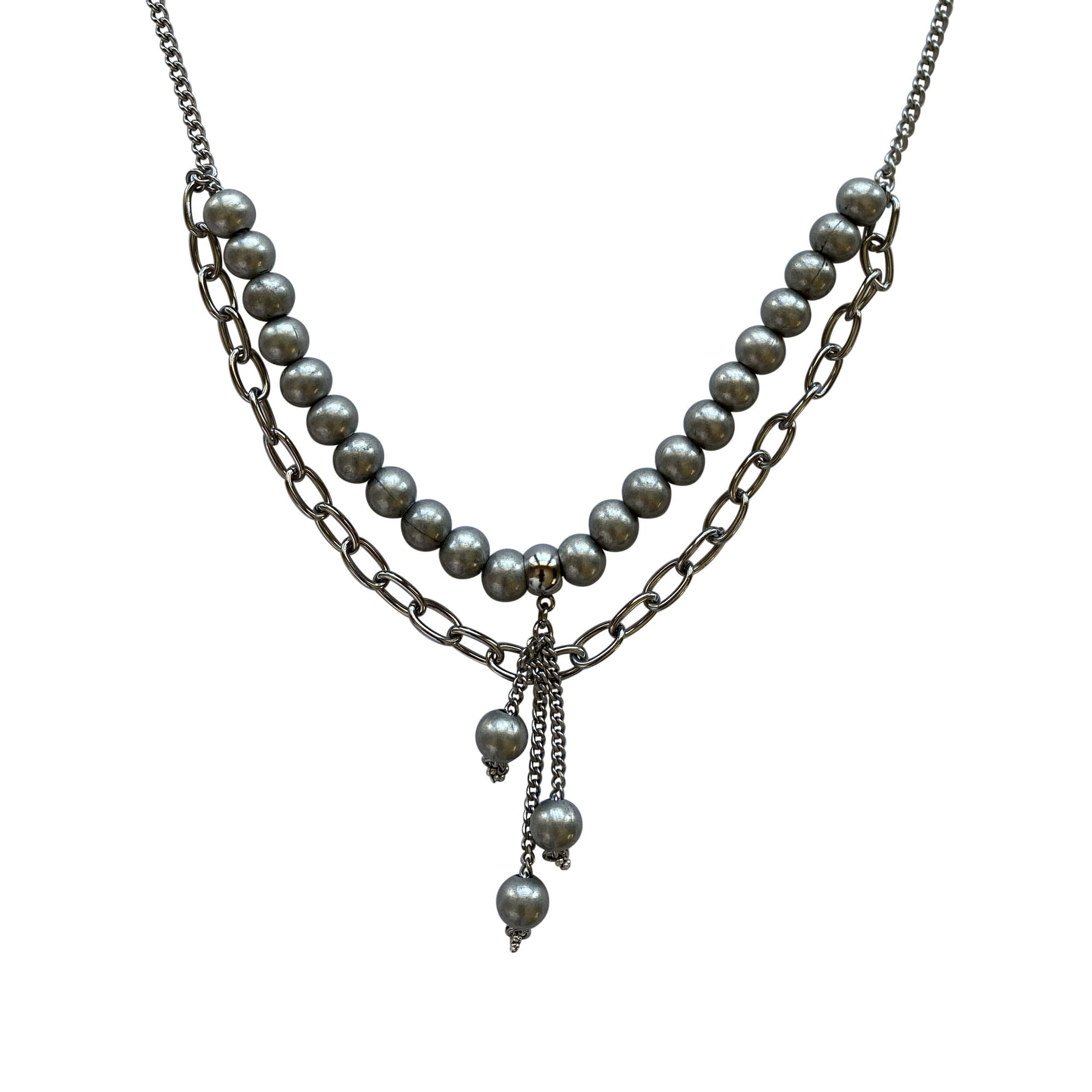 Stainless Steel Chain Steel Round Bead Pendant Necklace with Toggle Clasp