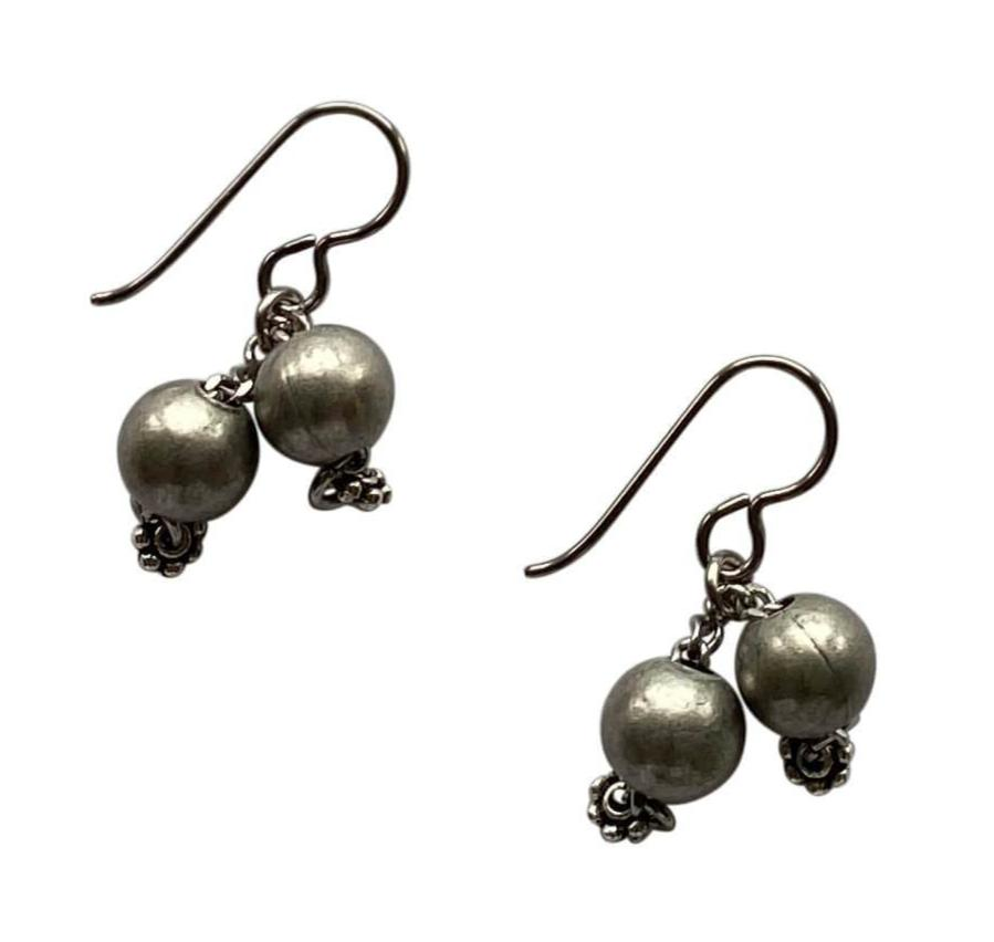 Silver Steel Round Bead and Chain Dangle Earrings with Niobium Ear Wires for Sensitive Ears-Earrings- Creative Jewelry by Marcia
