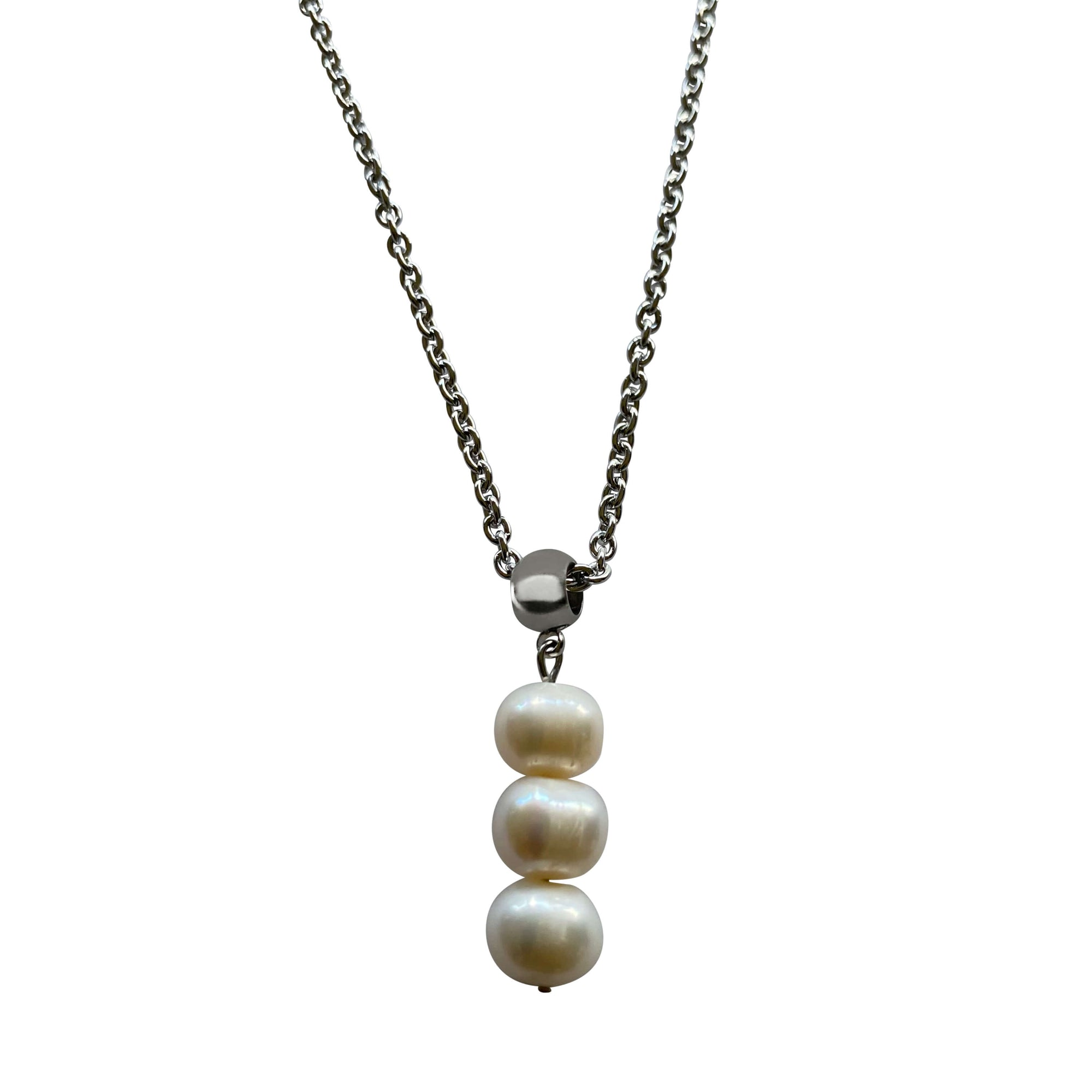 Three Freshwater Pearl Drop Pearl Necklace with Stainless Steel Silver Chain