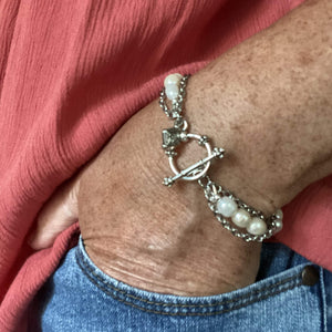 Freshwater Pearl Bracelet with Stainless Steel Chain and Toggle Clasp-Bracelets- Creative Jewelry by Marcia