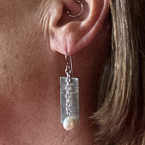 Freshwater Pearl Chain and Stainless Steel Earrings-Earrings- Creative Jewelry by Marcia