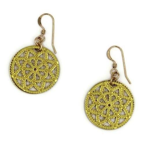 Brass Filigree Earrings with 14k Gold-filled Earwires - Creative Jewelry by Marcia - Asymmetrical Jewelry - Timeless Jewelry