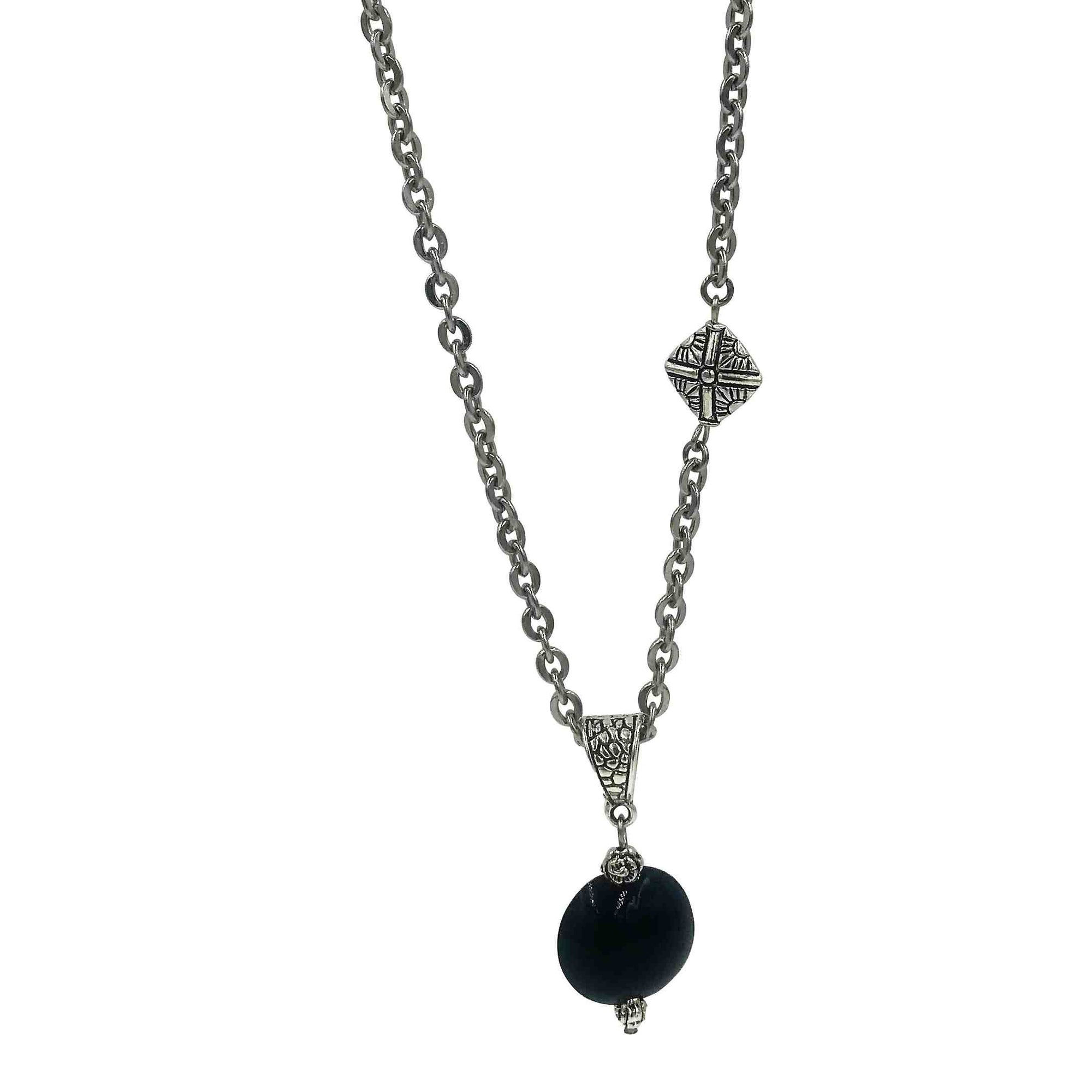 Midnight Blue Golem Pendant Asymmetrical Necklace with Silver Beads-Necklaces- Creative Jewelry by Marcia