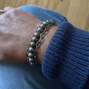 Silver Steel Round Bead Bracelet with Stainless Steel Chain