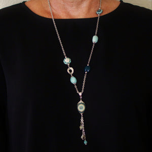 Teal Flower Long Pendant Necklace with Golem Clay Beads - Creative Jewelry by Marcia - Asymmetrical Jewelry - Timeless Jewelry
