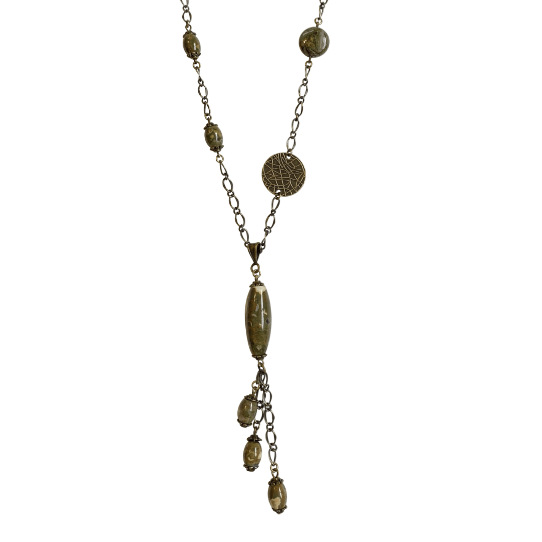 Rhyolite Brass Chain Link Long Pendant Necklace with Lobster Clasp-Necklaces- Creative Jewelry by Marcia