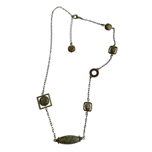 Rhyolite Brass Chain Link Pendant Necklace with Lobster Clasp