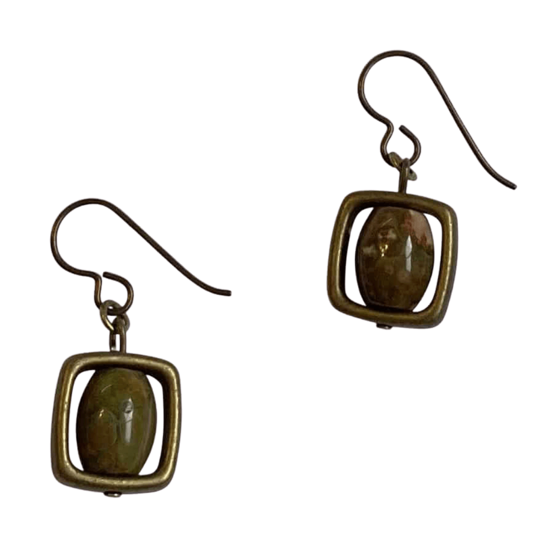 Rhyolite Brass Square Earrings with Niobium Ear Wires for Sensitive Ears-Earrings- Creative Jewelry by Marcia