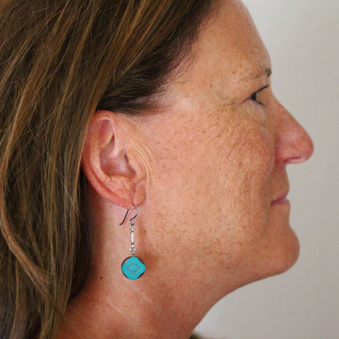 Teal Dangle Earrings for Sensitive Ears - Creative Jewelry by Marcia - Asymmetrical Jewelry - Timeless Jewelry