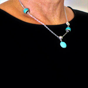 Pendant Necklace with the Ocean Blue, Teal  and Silver Pewter Beads